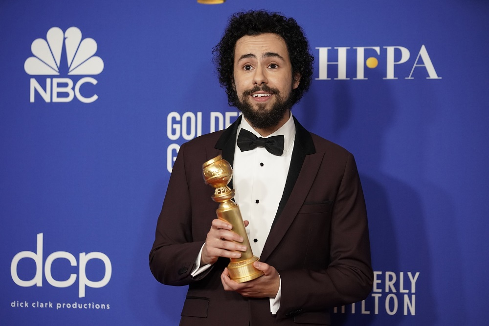 Ramy Youssef, winner for Best Actor — TV Series, Musical or Comedy for 'Ramy' poses backstage at the 77th Golden Globe Awards in Beverly Hills, California January 5, 2020. — Reuters pic
