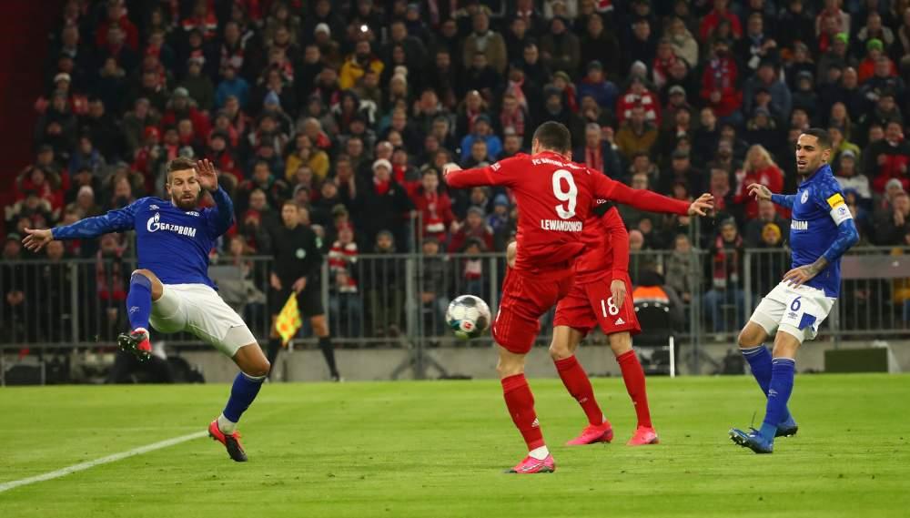 Bayern Munich's Robert Lewandowski scores the first goal against Schalke 04 January 26, 2020. ― Reuters pic