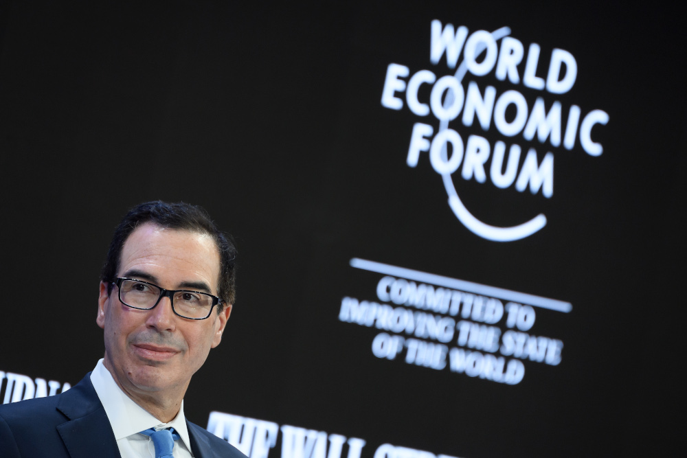 US Treasury Secretary Steven Mnuchin attends a session at the Congress centrE during the World Economic Forum (WEF) annual meeting in Davos, January 21, 2020. — AFP pic