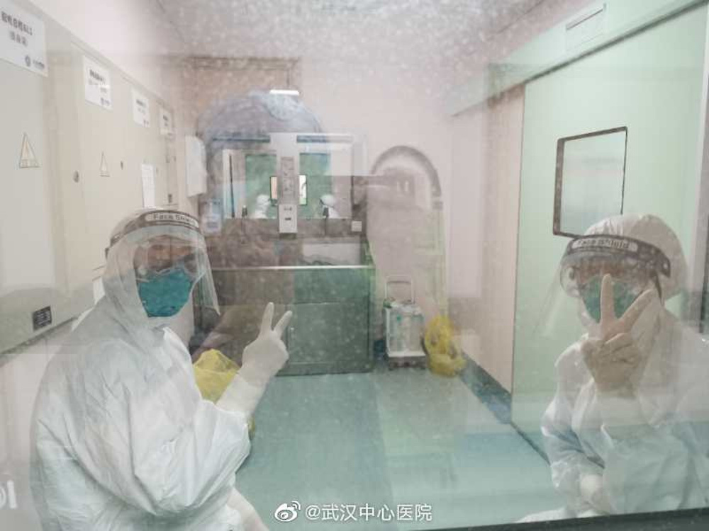 Picture uploaded to social media on January 25, 2020 by the Central Hospital of Wuhan show medical staff, in Wuhan, China. — Reuters pic