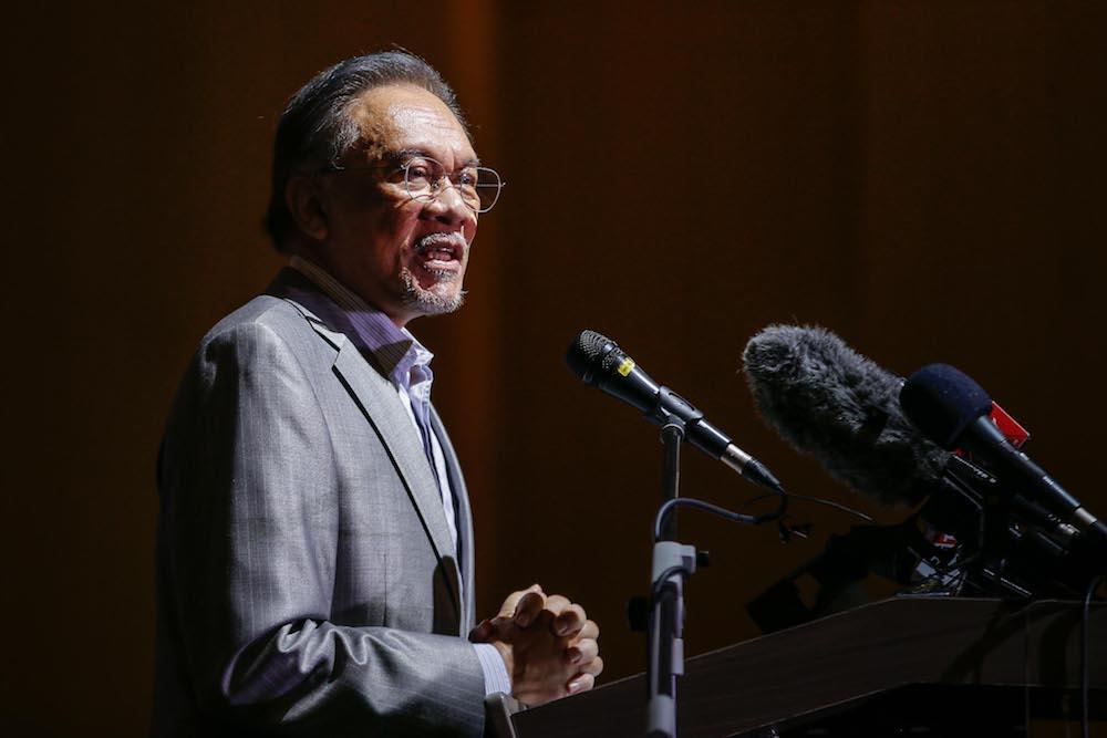 File photo of Datuk Seri Anwar Ibrahim at the Sime Darby Convention Centre in Kuala Lumpur January 8, 2020. — Picture by Hari Anggara