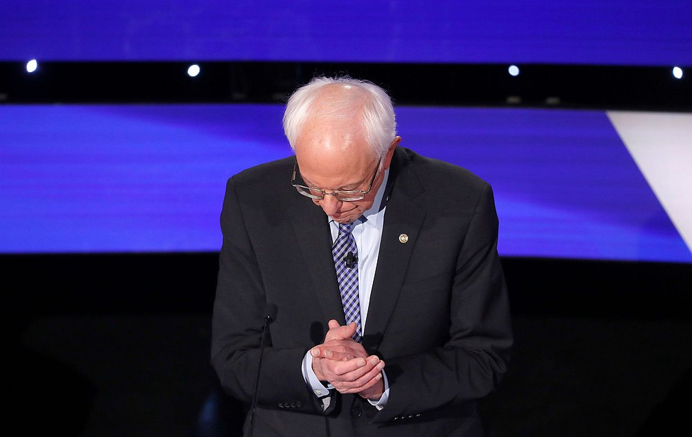 Democratic 2020 US presidential candidate Senator Bernie Sanders pauses during the seventh Democratic 2020 presidential debate at Drake University in Des Moines, Iowa January 14, 2020. — Reuters pic