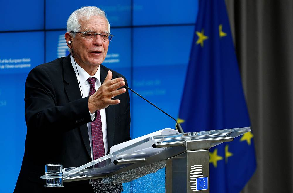 Josep Borrell, a Vice President of the European Commission, at a news conference after an EU foreign ministers emergency meeting to discuss ways to try to save the Iran nuclear deal, in Brussels, Belgium January 10, 2020. — Reuters pic