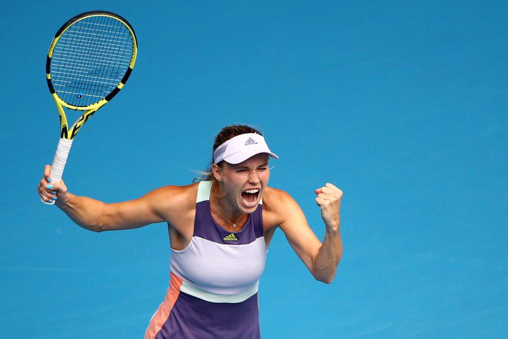 Denmark's Caroline Wozniacki celebrates winning the match against Ukraine's Dayana Yastremska in Melbourne January 22, 2020. ― Reuters pic