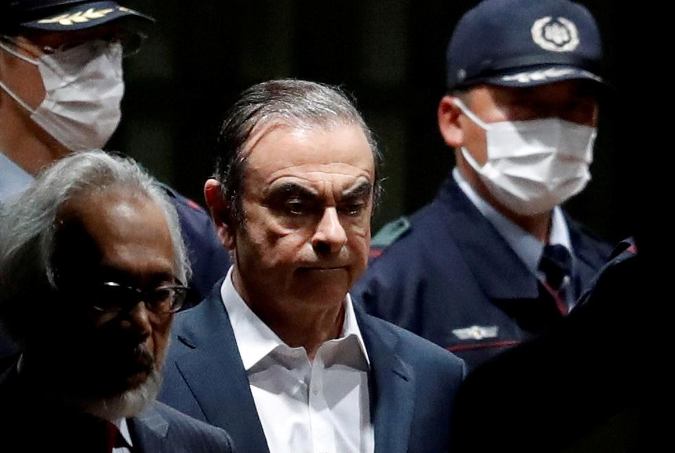 Former Nissan Motor Chariman Carlos Ghosn leaves the Tokyo Detention House in Tokyo in this file picture taken on April 25, 2019. — Reuters pic