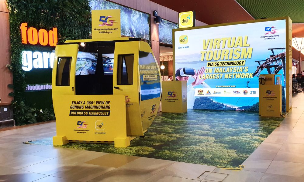 Digi's 5G use case, a cable car gondola and virtual reality experiential zone, is set up at the Langkawi International Airport for three months, beginning January 14, 2020. — Picture courtesy of Digi