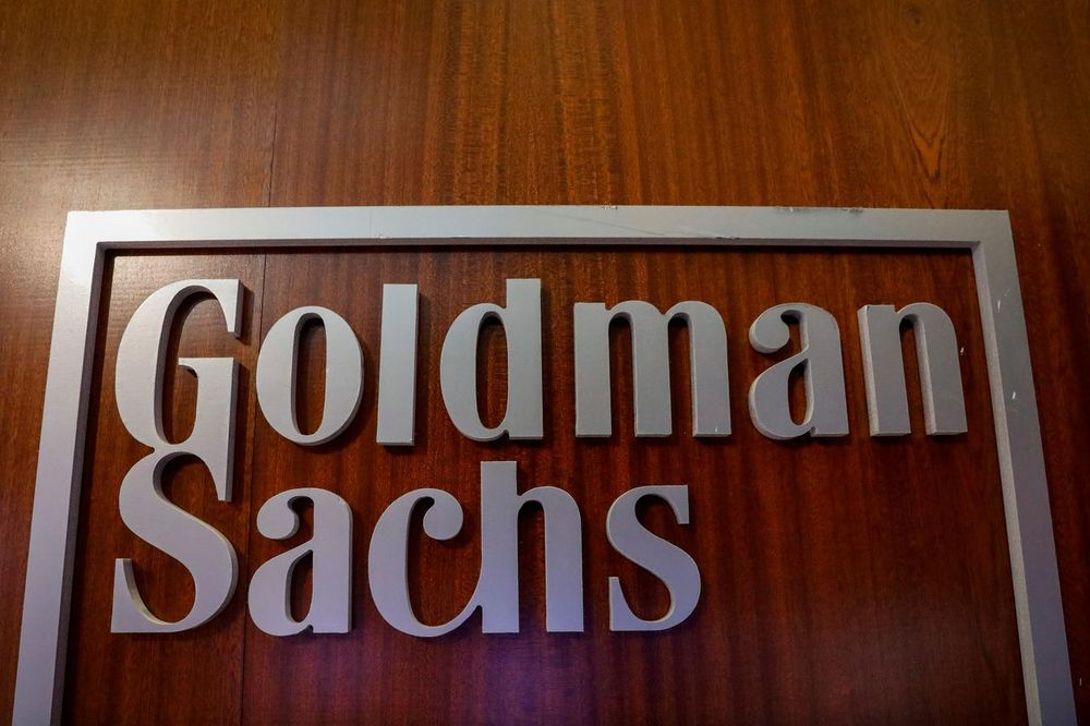 The Goldman Sachs company logo is seen in the company's space on the floor of the New York Stock Exchange, (NYSE) in New York, US, April 17, 2018. — Reuters pic