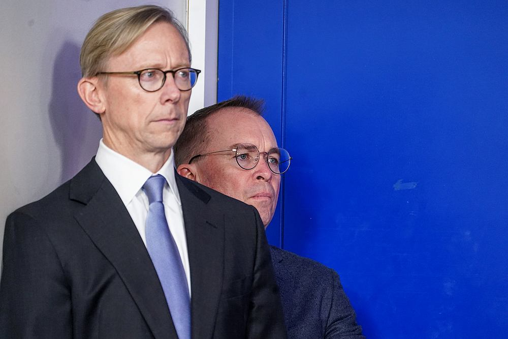 Brian Hook (left), US Special Representative for Iran, and Acting White House Chief of Staff Mick Mulvaney at a briefing on the situation with Iran at the White House in Washington January 10, 2020. — Reuters pic