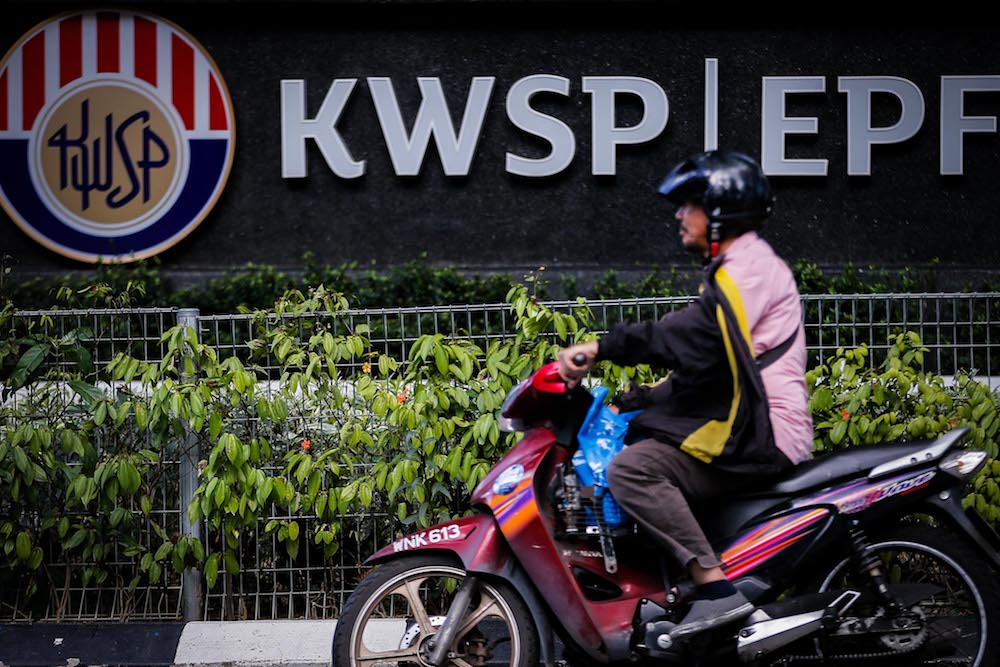 The Employees Provident Fund (EPF) logo is seen at its headquarters on Jalan Raja Laut January 22, 2020. — Picture by Hari Anggara