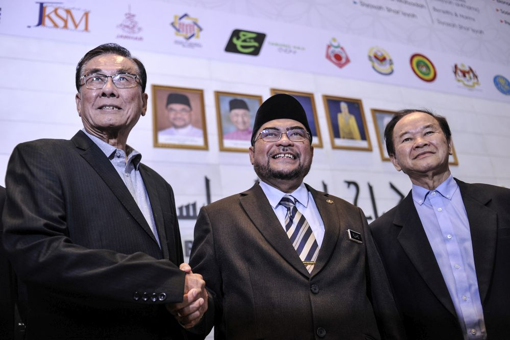 Minister in the Prime Minister's Department Datuk Seri Mujahid Yusof Rawa (centre) shakes hands with Jiao Zong president Datuk Ong Chiow Chuen (left) after meeting Dong Zong representatives in Putrajaya January 15, 2020. — Picture by Shafwan Zaidon