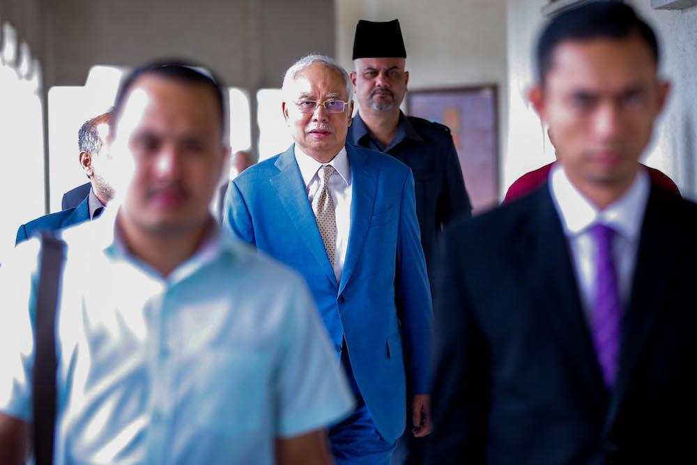 Datuk Seri Najib Razak is seen at the Kuala Lumpur Courts Complex January 21, 2020. — Picture by Hari Anggara