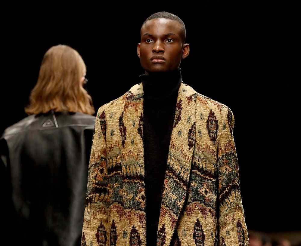 A model presents a creation by Rhude for the Fall/Winter 2020/21 collection during Men's Fashion Week in Paris January 14, 2020. — AFP pic