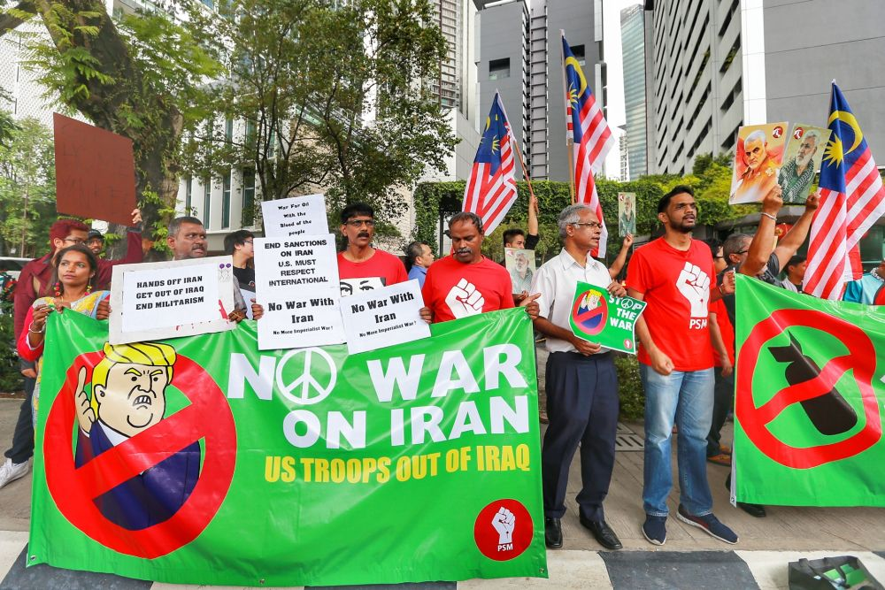 Members of the Socialist Party of Malaysia and other NGOs protest military action against Iran in front of the US Embassy in Jalan Tun Razak January 10, 2020.― Picture by Ahmad Zamzahuri