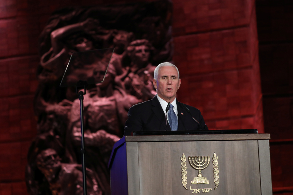 US Vice President Mike Pence speaks during the Fifth World Holocaust Forum at the Yad Vashem Holocaust memorial museum in Jerusalem January 23, 2020. — Picture by Abir Sultan/Pool via Reuters