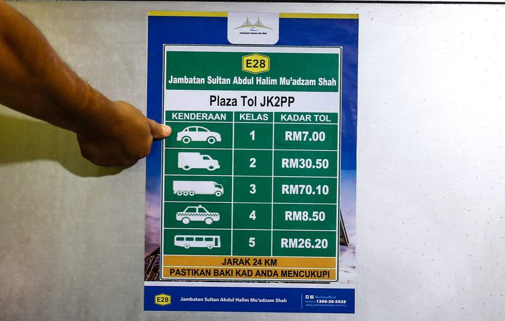 The toll rate for private cars at the Sultan Abdul Halim Mu'adzam Shah Bridge (JSAHMS) has been reduced from RM8.50 to RM7.00.