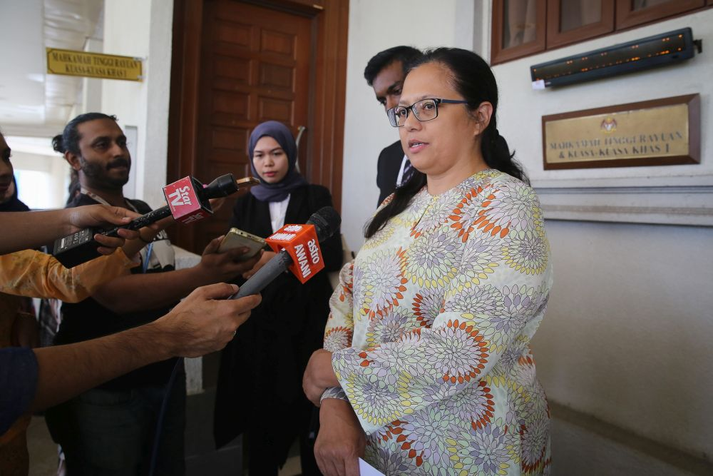 SIS executive director Rozana Isa speaks to reporters at the Kuala Lumpur Court Complex in this file picture taken on January 23, 2020. — Picture by Yusof Mat Isa