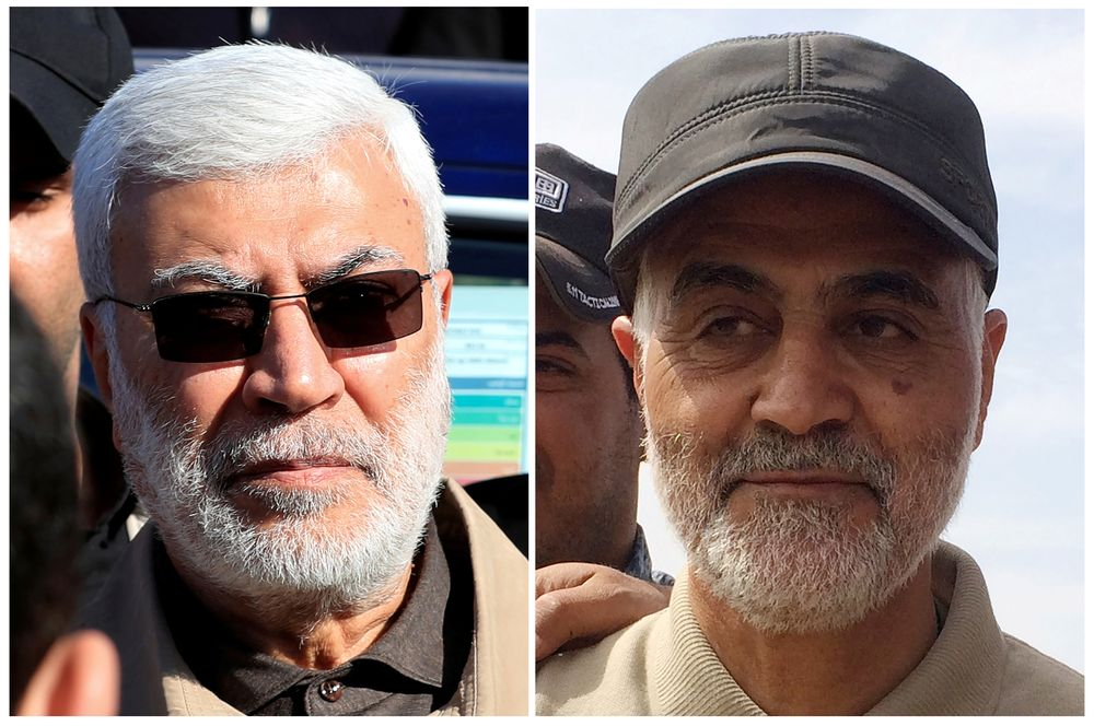 Combination of file photos showing (left) Abu Mahdi al-Muhandis, a commander in the Popular Mobilization Forces and (right) Iranian Revolutionary Guard Commander Qassem Soleimani. — Reuters pic