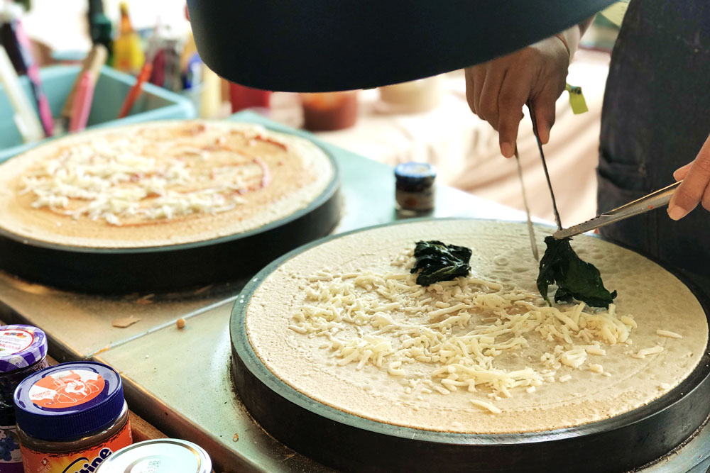 Some party-goers may like it savoury – how about a spinach and cheese crêpe?
