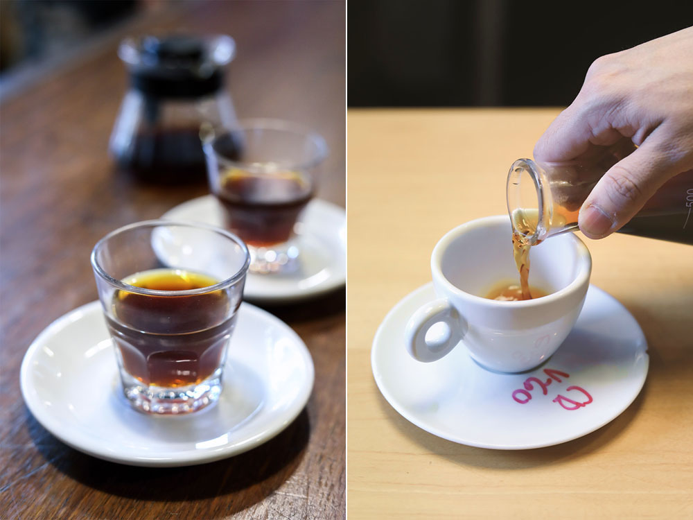 Filter brewed coffees at Lattente (left) and Lab Tostadores de Café (right).