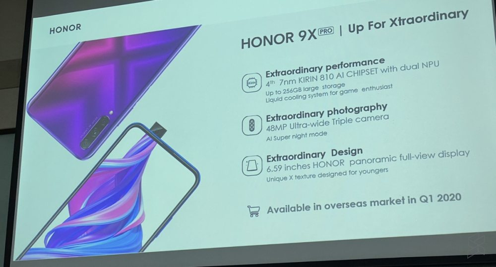 During the Honor View 30 Pro launch in China, Honor said that the Honor 9X Pro is going on sale globally in Q1 2020. ― Picture via SoyaCincau