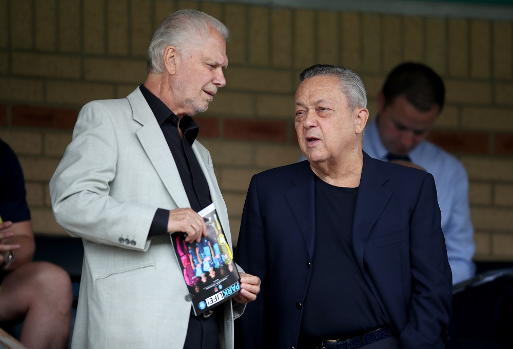 West Ham owners David Gold and David Sullivan during the pre-season match at Adams Park, Wycombe July 14, 2018. — Picture by PA Images via Reuters