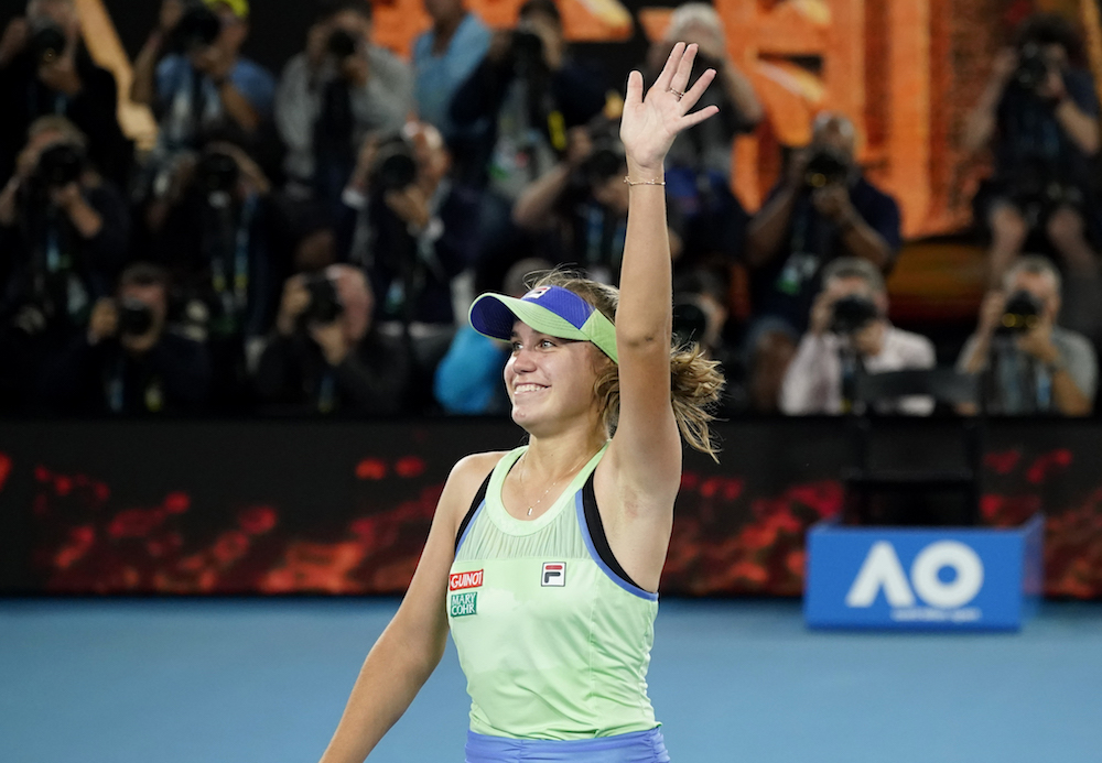 Australian Open champion Sofia Kenin (pic) beat fellow American Riske 6-1, 6-1 to kick off the women's team event which is being held on the same green clay courts that host a WTA Tour tournament every year. — Reuters pic