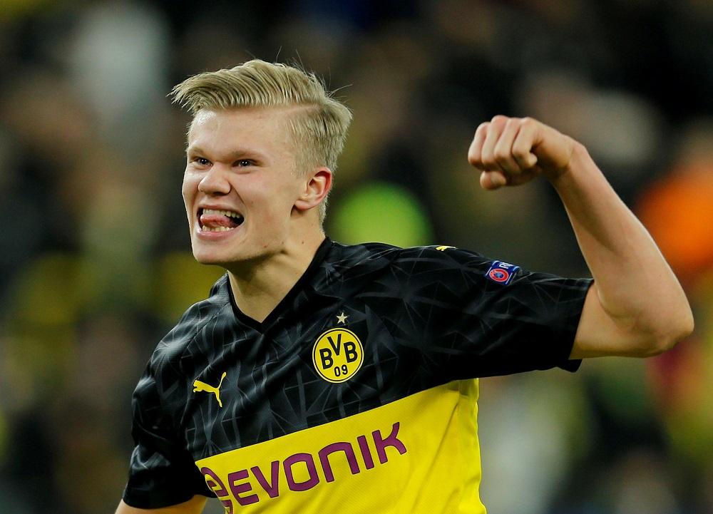 Borussia Dortmund's Erling Braut Haaland celebrates after the match against Paris St Germain at the Signal Iduna Park stadium in Dortmund February 18, 2020. — Reuters pic