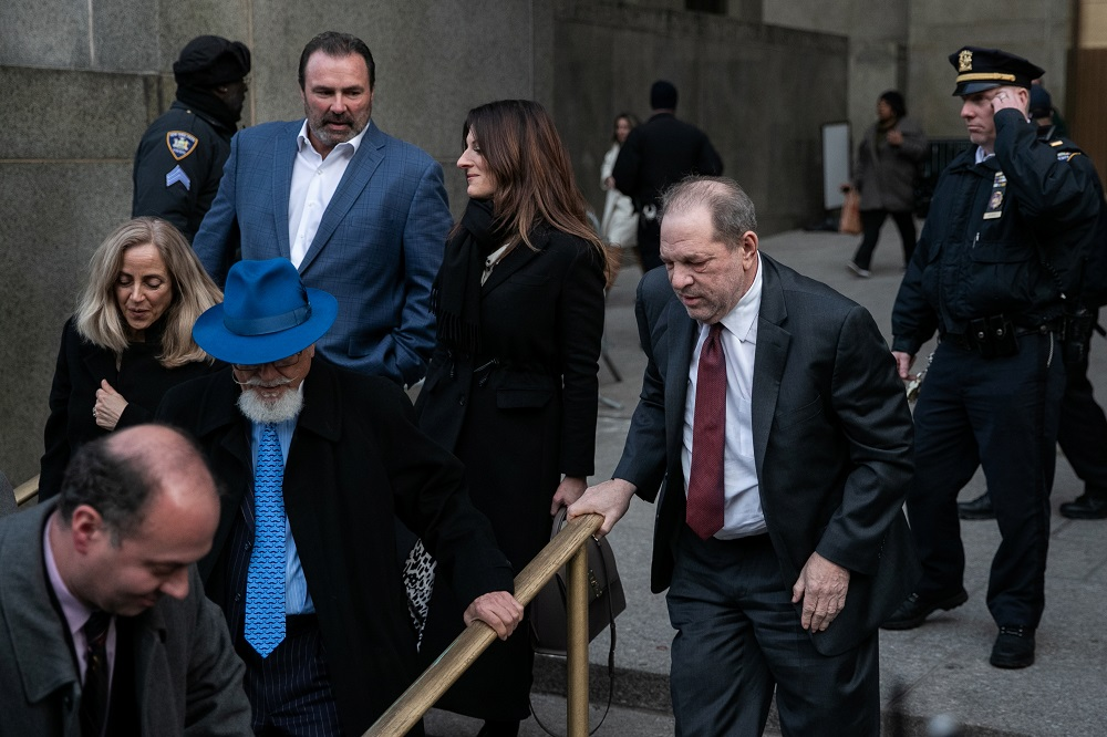 Film producer Harvey Weinstein leaves at New York Criminal Court for his sexual assault trial in the Manhattan borough of New York February 20, 2020. — Reuters pic