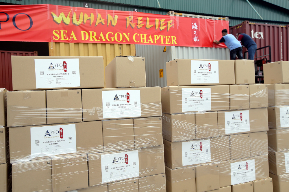 The Young President Organisation's (YPO) Sea Dragon regional chapter is contributing three million medical grade gloves to hospital workers in Wuhan, China, who have been at the frontline to fight against the 2019-nCoV outbreak. — Picture by Farhan Najib