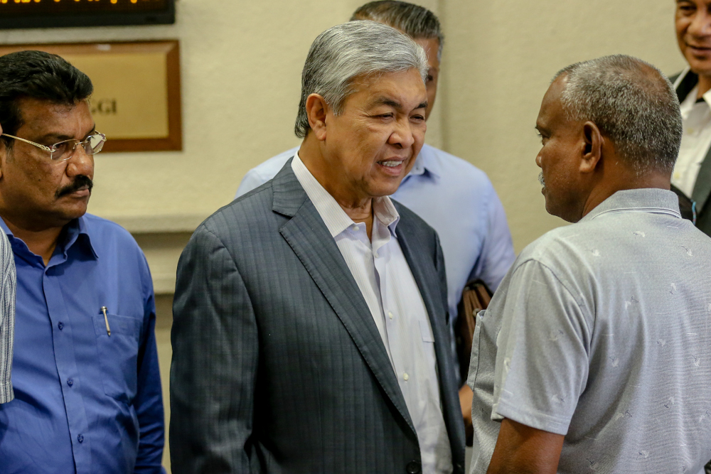 Datuk Seri Ahmad Zahid Hamidi is pictured at the Kuala Lumpur High Court February 11, 2020. — Picture by Firdaus Latif