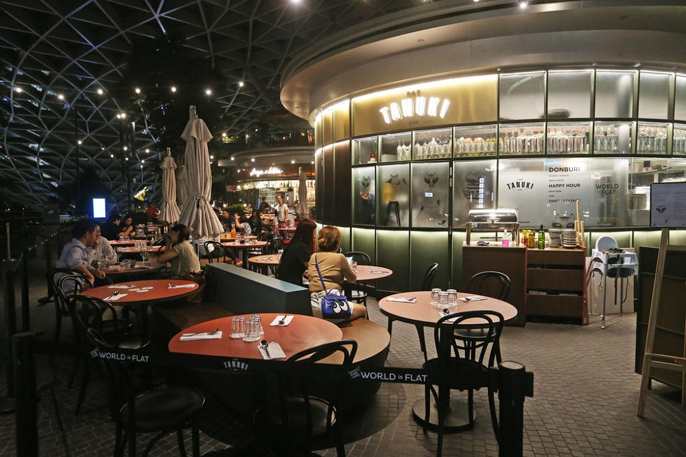 Dining outlets on the fifth floor of Jewel Changi Airport. To support the livelihood of restaurant owners and employees, Jewel approached its tenants to give them a 50 per cent rebate on rent for two months. — TODAY pic