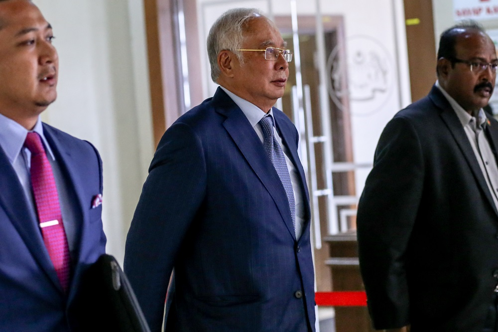 Former prime minister Datuk Seri Najib Razak is pictured at the Kuala Lumpur High Court February 17, 2020. — Picture by Firdaus Latif