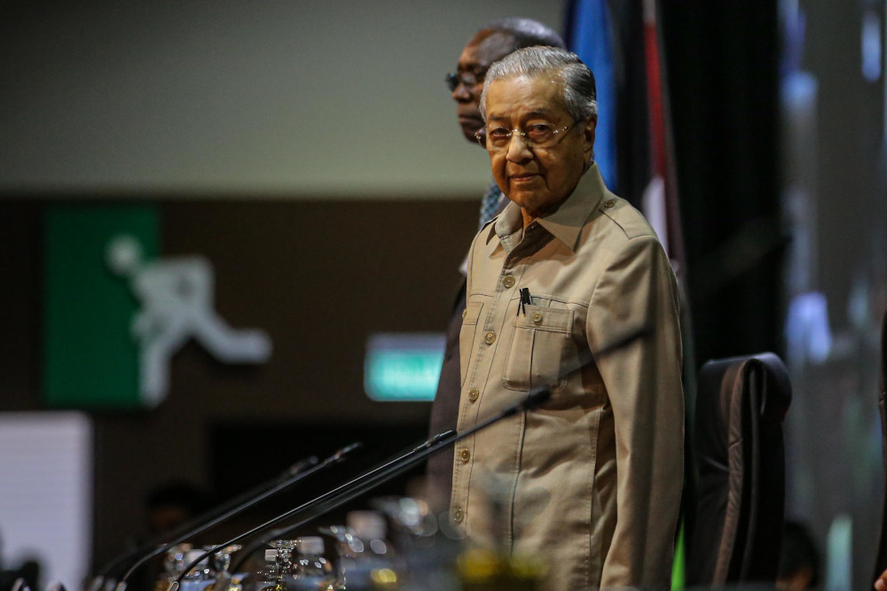 Interim Prime Minister Tun Dr Mahathir Mohamed attends the International Conference on the Question of Palestine in Kuala Lumpur February 28, 2020. — Picture by Hari Anggara