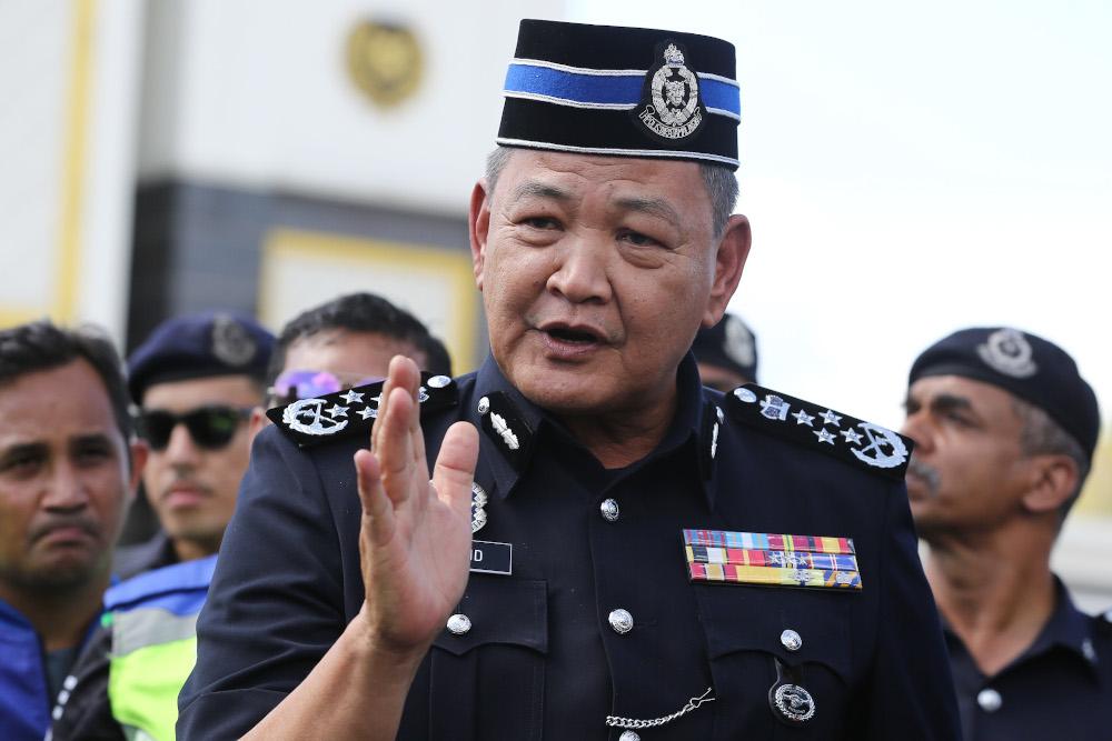 IGP Tan Sri Abdul Hamid Bador speaks to reporters outside Istana Negara in Kuala Lumpur February 28, 2020. — Picture by Yusof Mat Isa