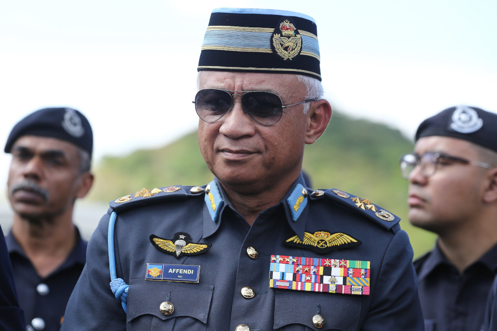 Chief of Defence Force Gen Tan Sri Affendi Buang said the deployment of military personnel from tomorrow was strictly to assist the Royal Malaysia Police enforce the MCO. — Picture by Yusof Mat Isa