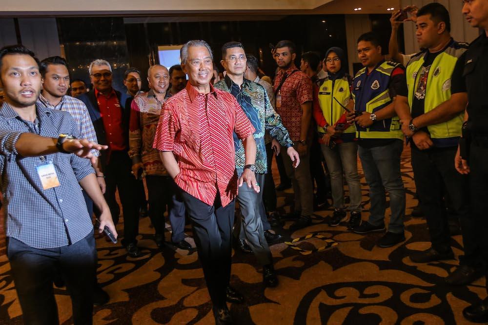 Tan Sri Muhyiddin Yassin and Datuk Seri Azmin Ali at Sheraton Hotel, February 23, 2020. — Picture by Hari Anggara