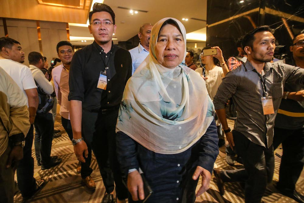 Ampang MP Zuraida Kamaruddin told reporters in a WhatsApp message that the Agong has indicated that he will interview them tomorrow to find out who they support as Malaysia's next prime minister. — Picture by Hari Anggara