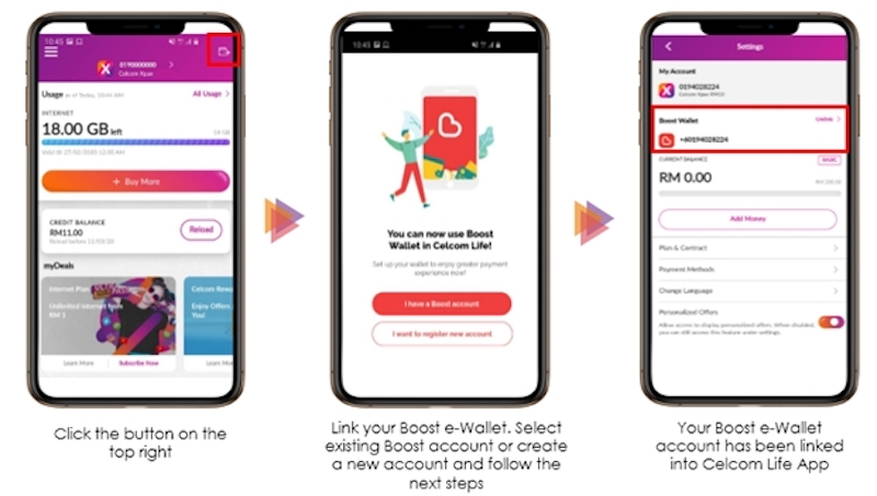 Xpax customers will first need to link their Boost eWallet to their Celcom Life App. — SoyaCincau pic