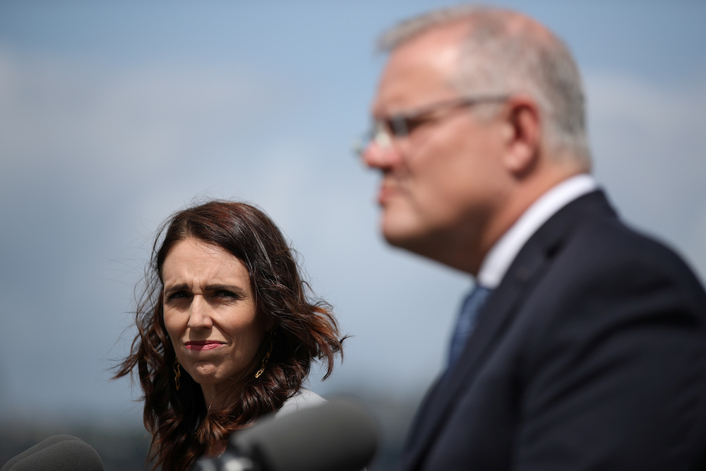 New Zealand Prime Minister Jacinda Ardern and Australian Prime Minister Scott Morrison hold a joint press conference at Admiralty House in Sydney February 28, 2020. — Reuters pic
