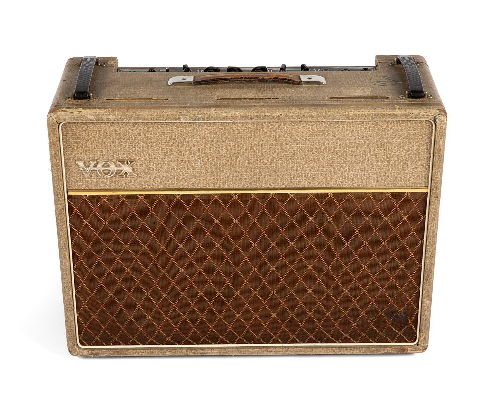 A 1962 Vox AC30 amplifier, owned by former Rolling Stones bass guitarist Bill Wyman, is seen in an undated photo obtained by Reuters on February 11, 2020, before going up for auction in May in Beverly Hills, California. — Julien's Auctions/Handout via Reuters