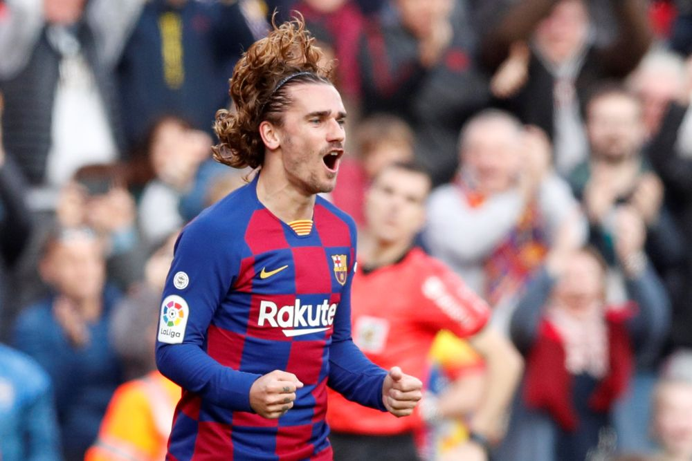 Barcelona's Antoine Griezmann celebrates scoring their first goal against Getafe at Camp Nou February 15, 2020. — Reuters pic