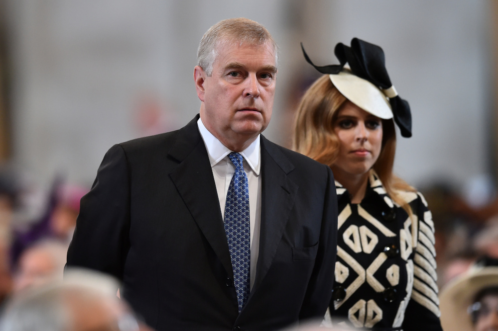 Britain's Prince Andrew, and Princess Beatrice arrive for a service of thanksgiving for Queen Elizabeth's 90th birthday at St Paul''s Cathedral in London, Britain, June 10, 2016. — Reuters pic