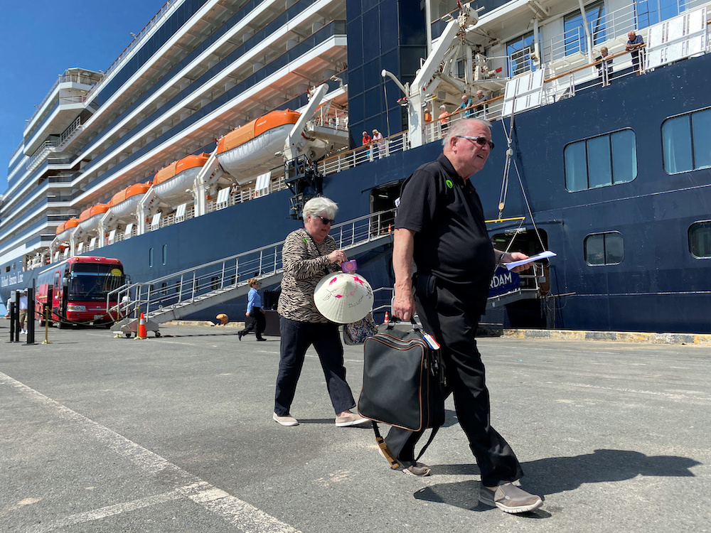 File photo of passengers leave the cruise ship MS Westerdam in the Cambodian port of Sihanoukville, February 15, 2020. — Reuters pic