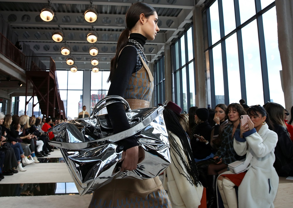 A model presents a creation from the Longchamp collection during New York Fashion Week in the Manhattan borough of New York February 8, 2020. — Reuters pic
