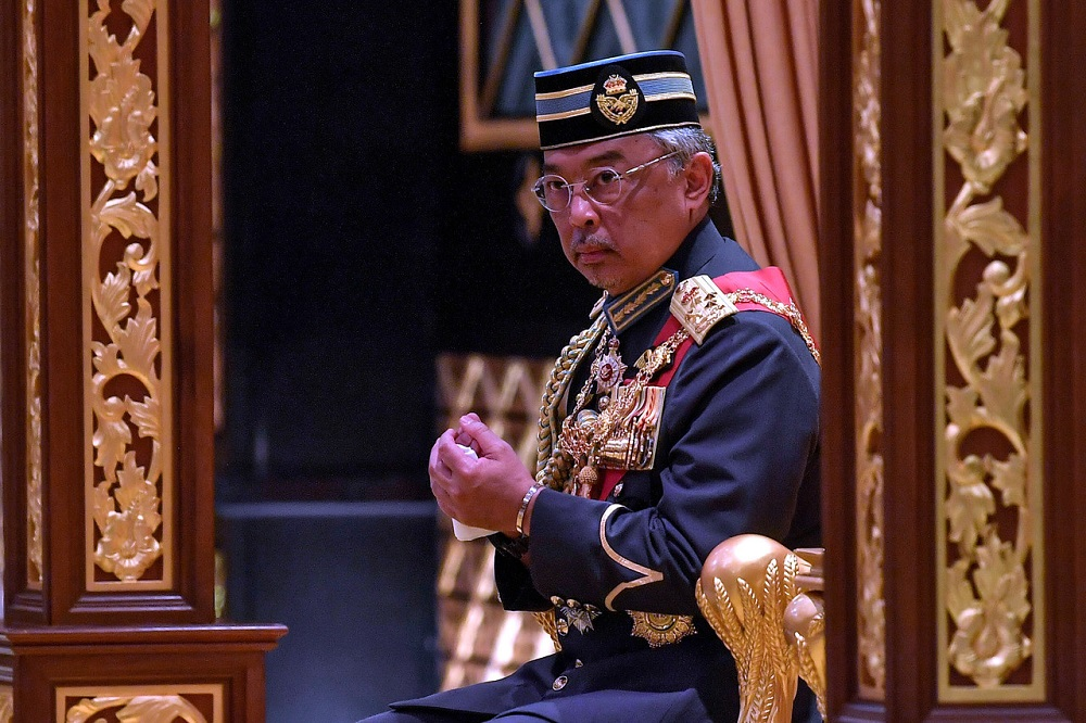 File picture shows Yang di-Pertuan Agong Al-Sultan Abdullah Ri'ayatuddin Al-Mustafa Billah Shah attending the investiture ceremony held in conjunction with the Federal Territory Day celebration at Istana Melawati, Putrajaya February 1, 2020. — Bernama pic