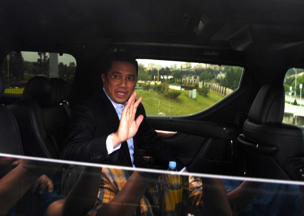 Datuk Seri Mohamed Azmin Ali is seen exiting the Perdana Putra after meeting with Interim Prime Minister Tun Dr Mahathir Mohamad in Putrajaya February 25, 2020. — Bernama pic