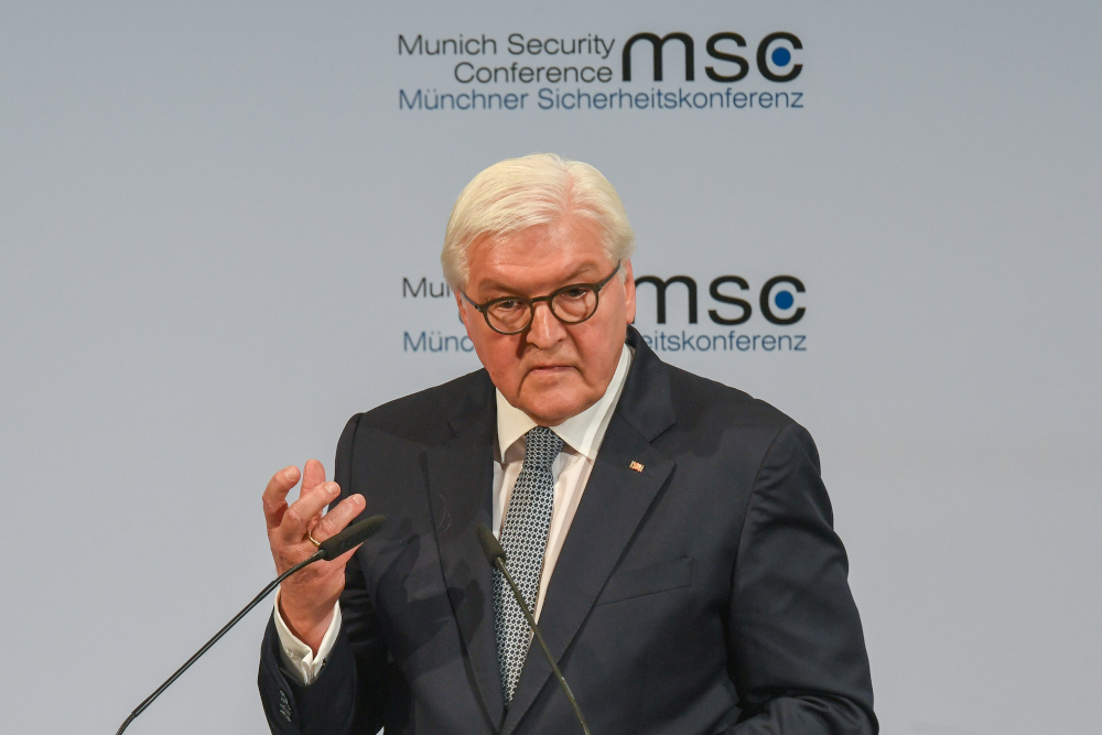 German President Frank-Walter Steinmeier addresses the opening speech of the 56th Munich Security Conference (MSC) in Munich, southern Germany, February 14, 2020. — AFP pic