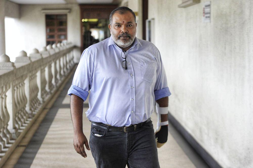 Businessman M. Kumaraguru M. Muthusamy is pictured at the Kuala Lumpur High Court February 19, 2020. — Picture by Shafwan Zaidon