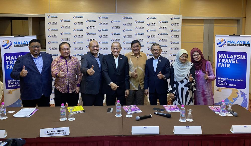 Malaysia Association Tour Agency president Datuk Mohd Khalid Harun with Malaysia Travel Fair committee members in Kuala Lumpur February 13, 2020. — Bernama pic