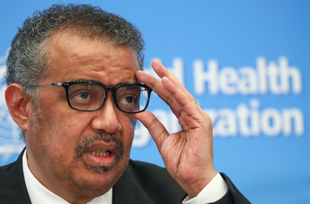 Director-General of the WHO Tedros Adhanom Ghebreyesus has been the public face of the WHO's efforts to grapple with the COVID-19. — Reuters pic